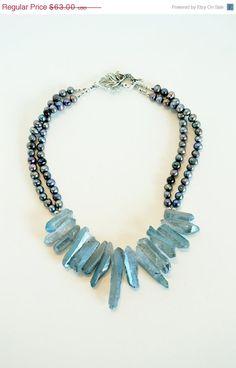 ~ Aquamarine haiwian chip fresh h2o pearl...