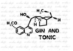 Gin and Tonic Molecule SVG - Silhouette Cut File