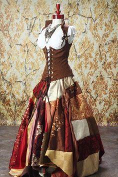 Renaissance/Steampunk-ish patchwork skirt and corset. Moda Steampunk, Steampunk Costume, Steampunk Clothing, Steampunk Fashion, Gypsy Clothing, Steampunk Skirt, Costume Renaissance, Renaissance Clothing, Renaissance Gypsy