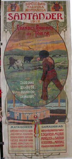 bibliofilos taurinos   Cartel Mural de Toros) SANTANDER 1912