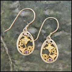 Purple Sapphire and Diamond Earrings