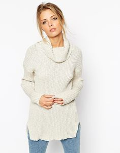 ASOS Roll Neck Tunic In Rib With Split Sides