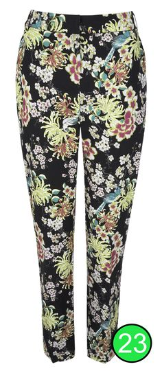 Oriental Print Tapered Trousers for inverted triangle or wedge body shape