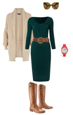 I probably wouldn't do boots with a dress, but switch them out for flats and this would be a cute work outfit.