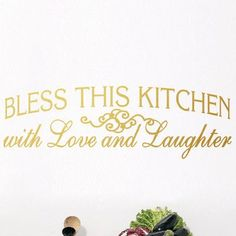 SweetumsWallDecals Bless This Kitchen Wall Decal Color: