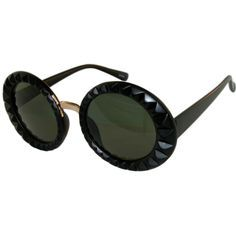 Oversized Round Sunglasses with Faceted Edging in Black