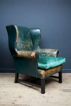 green leather wingback chairs image 3
