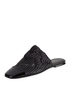 SIGERSON MORRISON GALLIA SQUARE-TOE PERFORATED MULE. #sigersonmorrison #shoes #