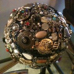 Bowling ball covered with vintage coustume jewelry