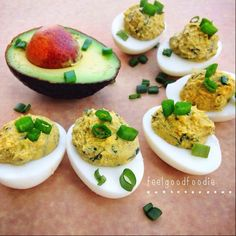 Avocado Deviled Eggs  Made by @feelgoodfoodie  3 hard boiled eggs 1/2 avocado Juice of 1/2 lime 1 tbsp chopped cilantro 1 small garlic glove, minced 1 tsp onion powder Salt and pepper to taste Scallions for garnish  Instructions: Slice hard-boiled eggs in half & scoop out egg yolk into a small bowl  Mix the yolk with all the remaining ingredients until it is smooth  Spoon mixture into egg whites & garnish with scallions ✨Are  you following my backup food page? @Healthyfitnessrecipes