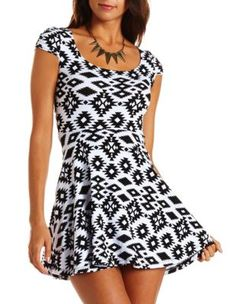 lattice back tribal skater dress by charolette russe