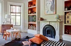 orange bookcases