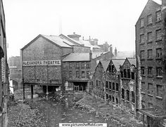Rear of Alexandra Theatre, showing the combined flow of the rivers Don and Sheaf, from Sheaf Bridge, Exchange Street