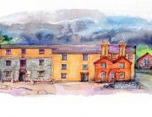 Brookhouse Mill – the first of a number of mill conversions. Brookhouse was bought complete with functioning water wheel and grindstones from the miller, Mr. Lumbston. The space brought the first opportunity for large-scale mural making; for living and working, a full conversion was required. Illustration by Jean from her book Earth, Fire and Water.
