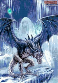 Ice dragon cross stitch kit | Yiotas XStitch