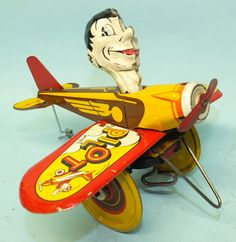 ANTIQUE 1930's MARX ROOKIE PILOT AIRPLANE TIN WIND UP TOY   Toys of Times Past