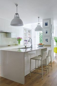 White kitchen ideas uk bright colour and pattern white kitchen kitchen design ideas white gloss kitchen . Kitchen Family Rooms, Kitchen Living, New Kitchen, Kitchen Wood, Living Room, Voxtorp Ikea, Kitchen Columns, Kitchen Extension Pillar, Kitchen Island Ideas With Columns