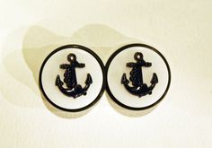 A pair of rockabilly anchor plugs made from vintage buttons in custom sizes and colors