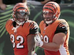 Bengals notes: Reaction to 4-0 start, Hill lets off steam. Photo: Cincinnati Bengals running back Jeremy Hill celebrates his touchdown run in the third quarter with Kevin Zeitler. The Bengals are 4-0 for first time since 2005. The Enquirer/Sam Greene