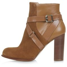 TOPSHOP AROMA Suede Ankle Boots (790 HNL) ❤ liked on Polyvore featuring shoes, boots, ankle booties, zapatos, sapatos, tan, tall suede boots, tan ankle booties, block heel booties and tan booties