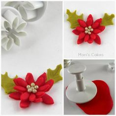 Cupcakes and How to Make Christmas Poinsettias Christmas Cupcake Toppers, Christmas Cake Designs, Christmas Cake Decorations, Christmas Cupcakes, Holiday Cakes, Fondant Flower Tutorial, Fondant Flowers, Sugar Flowers, Fondant Icing