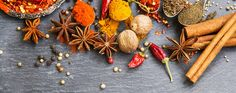 Cooking spices powders and seed, chili flakes, nutmeg and cinnam