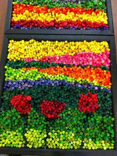 I just finished working with 6 classes of Kindergarten and graders to create collaborative pieces of art using crayons. Class Auction Projects, Group Art Projects, Mosaic Art Projects, Collaborative Art Projects, Recycled Art Projects, Auction Ideas, Crayon Crafts, Crayon Art, Crafts With Crayons