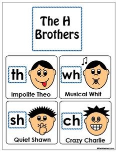 H Brothers - FREE PDF with printables, and there's a video to help you tell the… Phonics Reading, Teaching Phonics, Phonics Activities, Kindergarten Literacy, Teaching Reading, Early Literacy, Phonics Videos, Kindergarten Anchor Charts, English Phonics