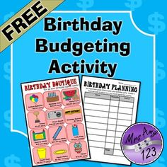 In these real world activity students plan out their birthday party by buying supplies from the Birthday Boutique while sticking to a budget (2 budgets are included with 2 different layouts).Included are: Birthday Boutique handout-colour and black & white (2 pages) Worksheet Variations (4 pages)It is recommended that younger students use a calculator in most of these activities.This product is not editable Other products you might be interested in:Financial Planning Activities ...