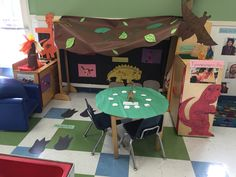 My Preschool Class' Dinosaur Cave for our Dramatic Play! Dinosaurs is our theme this week! We also made homemade fossils!