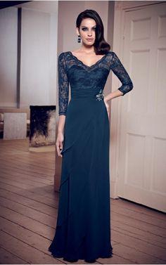 V-neck 3/4-Length Sleeves Sheath Zipper Floor-length Formal Dresses afba307025