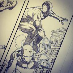 Adam Kubert Surfs up! #allnewalldifferentmarvel #marvelcomics #Spiderman #ironman