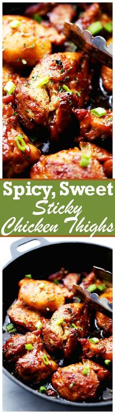 Spicy, Sweet and Sticky Chicken Thighs! An easy and quick one skillet meal including sticky, tender and delicious chicken thighs rubbed with a homemade spice rub and brushed with an amazingly sweet honey sauce! Sticky Chicken Thighs, One Skillet Meals, Homemade Spices, Cooking Recipes, Healthy Recipes, Quick Recipes, Popular Recipes, Chicken Thigh Recipes, Yum Yum Chicken