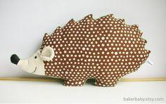 Hedgehog Pillow Woodland Nursery Decor hedgehog plush di bakerbaby, $34.00