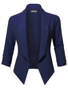 Womens Casual Office Open Front Ruched Sleeve Cardigan Blazer Jacket Hand wash in cold water separately. Do not bleach Lay flat to dry Cool iron if needed . Cardigan Blazer, Blazer Outfits, Blazer Fashion, Sleevless Blazer, Sweater Outfits, Work Casual, Casual Wear, Casual Outfits, Casual Office
