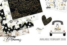 First comes love, then comes Always & Forever - a gorgeous collection to document memories of that special day!  Classic black, vibrant white and soft cream paired with gold foil accents present the perfect palette to complement ANY wedding.  Say I DO to Always & Forever when it comes to scrapping your love story!