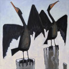 """""""Two Cormorants"""" by David Witbeck. 30"""" x 30"""" Oil on Canvas. Available at www.maine-art.com #maineart #DavidWitbeck #bird"""