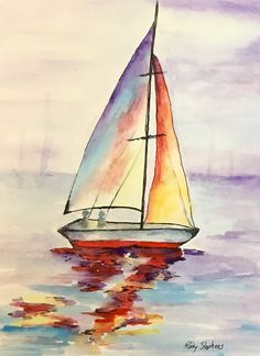 Discover recipes, home ideas, style inspiration and other ideas to try. Watercolor Sea, Watercolor Landscape, Landscape Art, Watercolor Paintings, Sailboat Art, Sailboat Painting, Sailboats, Sailboat Drawing, Lighthouse Painting