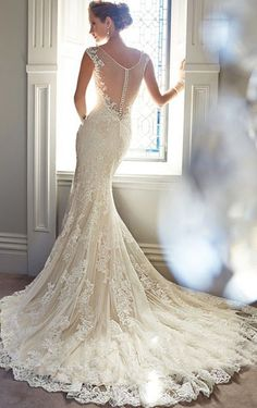 Charming V-neck Floor-length Meramid Lace Wedding Dress, Cheap Wedding Dresses Online