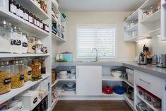 15 Trendy Kitchen Layout Ideas With Scullery Kitchen Desks, Studio Kitchen, Kitchen Pantry, Kitchen Tiles, Kitchen Flooring, Kitchen Countertops, Kitchen Storage, New Kitchen, Kitchen Dining