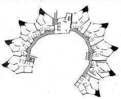 Planta tipa del edificio Julieta, en Schwabbacher Strasse 15, por Hans Sharoun, en Stuttgart, Alemania, en 1954/1959