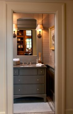 Grasscloth, bathroom