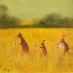 """Art Print of an Original Animal Painting: """"The Strolling Players (Reprise)""""+"""