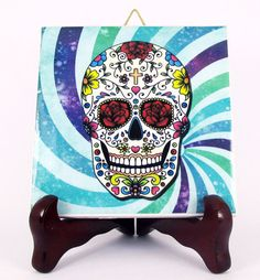 Calavera Mexicana Ceramic Tile Mexico Day of the by TerryTiles2014
