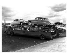 1953 Hudson Factory Photo Haulaway Transport Truck Trailer ca0026