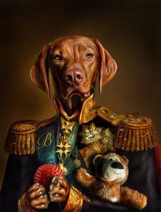 'Bertie the Hungarian Vizsla - Dog Portrait' Art Print by Dog Portraits, Portrait Art, Portrait Acrylic, Unique Animals, Cute Animals, Costume Chien, Hungarian Vizsla, Dog Artwork, Animal Heads