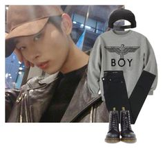 """Dance Practice"" by oh-jimin ❤ liked on Polyvore featuring BOY London, Yves Saint Laurent, Dr. Martens, men's fashion and menswear"