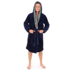 Tmavo modré zavinovacie župany s kapucňou pre pánov Fashion, Dress, Moda, Fashion Styles, Fashion Illustrations