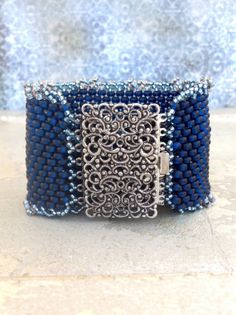 SALE*Peyote Stitch Beaded Cuff Bracelet ~ Denim Blue Country Cuff ~Vintagy Silver Clasp Seed Bead Beauty~ Peyote Chic by Country Chic Charms