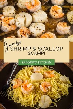 Scallop Scampi Recipe, Scallop And Shrimp Pasta, Shrimp And Scallop Recipes, Crab Pasta, Recipe For Jumbo Shrimp, Seafood Pasta, Sunday Dinner Recipes, Pasta Dinner Recipes, Seafood Recipes
